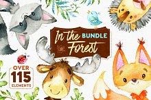 In The Forest. Watercolor Bundle