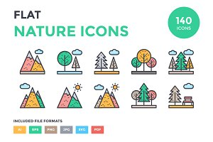 125+ Flat Nature Icons Set