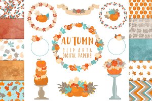 Autumn clipart and 10 digital paper