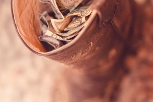 Cowboy Boot Filled with Money