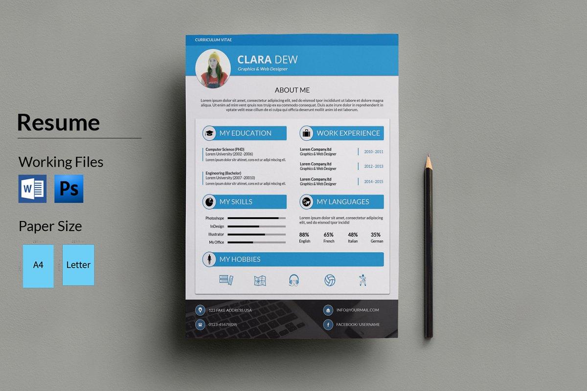Clean Resume Template-V027 ~ Resume Templates ~ Creative Market