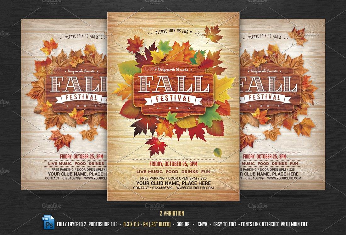 fall autumn festival flyer flyer templates creative market
