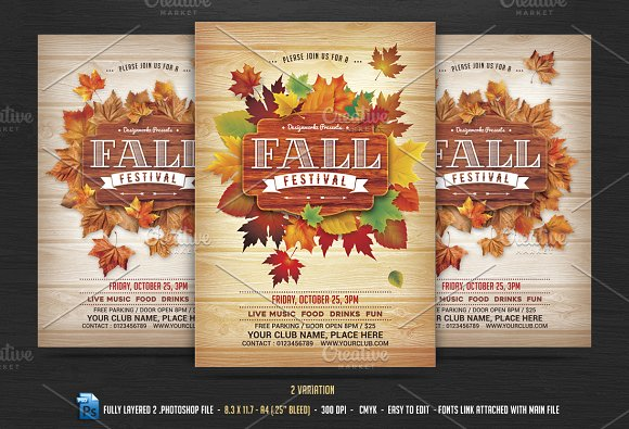fall autumn festival flyer flyer templates creative market