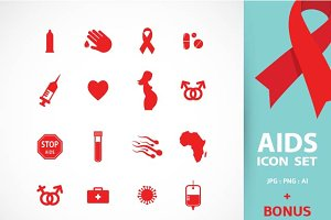AIDS & HIV icons + BONUS (1)