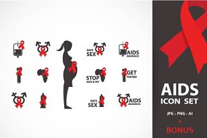 AIDS & HIV icons + BONUS (2)
