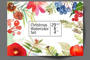 Christmas set of watercolors
