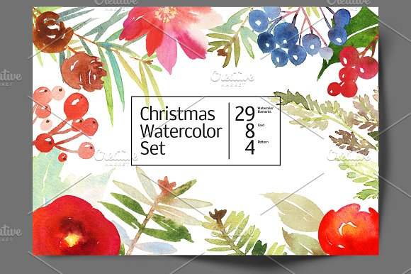Christmas set of watercolors