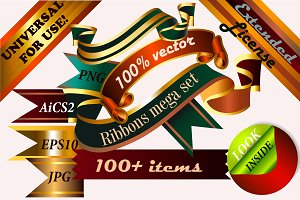 big pack of vector ribbon