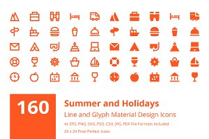 Summer and Holidays Material Icons