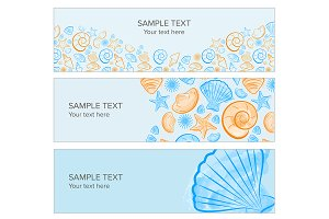 Web banner with seashell summer