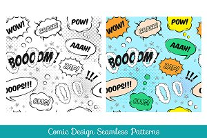 Comic design seamless pattern set