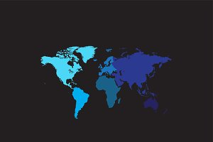 World map with continents blue