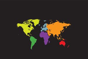 World map continents and borders