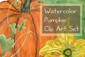 15 Watercolor Pumpkin Clip Art Set