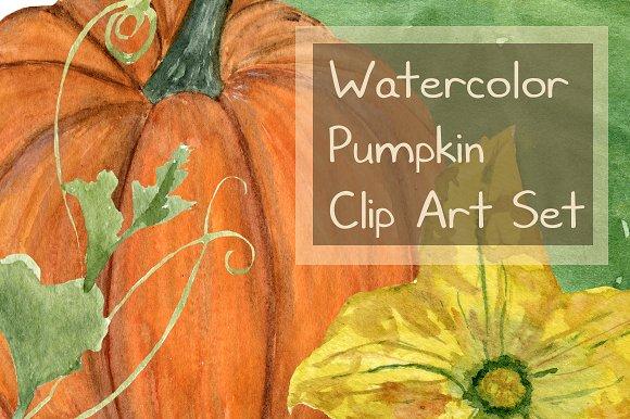 15 Watercolor Pumpkin Clip Art Set