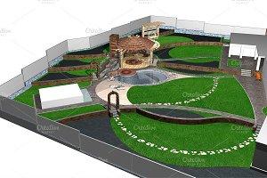 Suburban yard landscaping, 3d render