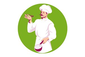 Chef Cook Baker Holding Sauce Pan