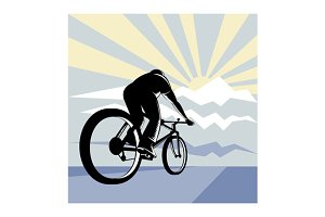 Cyclist Riding Bicycle  Mountain