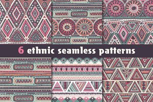 6 ethnic seamless patterns