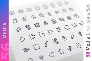 Media Line Icons Set