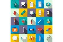 Medicine equipment icons set