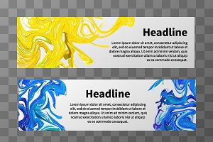 Web banners with colorful splashes