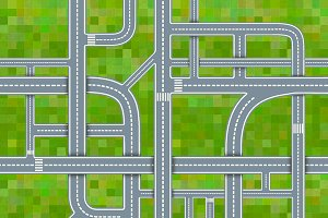 Road junctions on grass