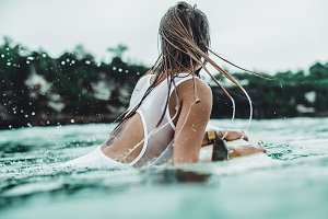 girl on a surf board