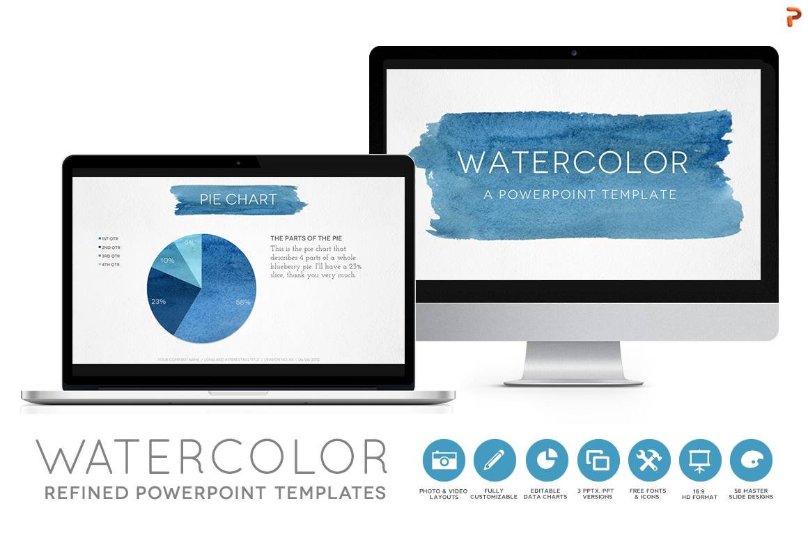 Watercolor powerpoint template presentation templates creative watercolor powerpoint template presentation templates creative market toneelgroepblik Choice Image