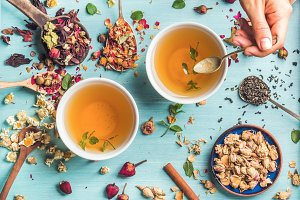 Healthy herbal tea with mint
