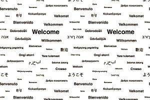 Welcome phrases seamless pattern