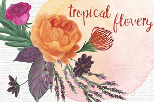 Watercolor tropical flovery