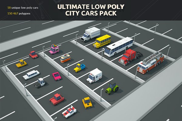 3D Vehicles - Ultimate Low Poly City Cars Pack
