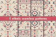 4 geometric ethnic seamless patterns