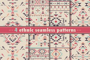 4 geometric ethnic seamless patterns