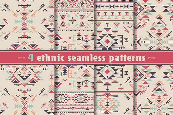4 geometric ethnic seamless patterns - Graphics