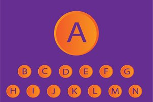 neon buttons font orange vector