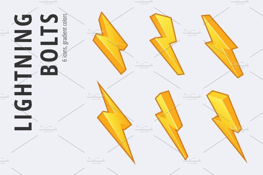 6 lightning bolts set in 3 styles logo templates creative market