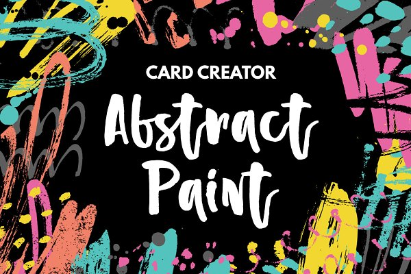 Card Templates: Favete Art - Abstract Paint Card Creator