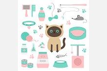 Siamese cat. Stuff set. Vector