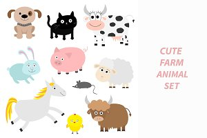 Farm animal set.