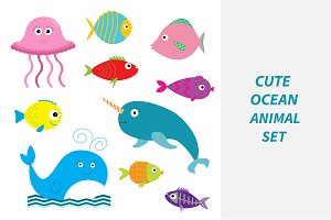 Sea and ocean animal set.