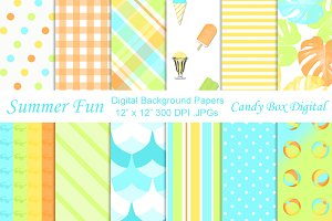 Summer Fun Retro Digital Papers