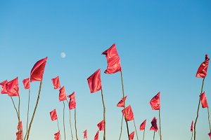 Waving flags on blue sky