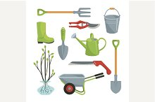 Set of various agricultural tools