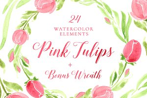 SET of Watercolour Tulips Clipart