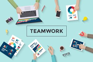Concept design of business teamwork