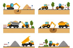 Building site machinery vector icons