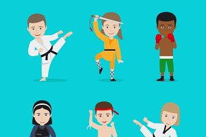 Kids martial arts vector ills