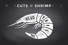Cut of meat set, chalkboard. Shrimp